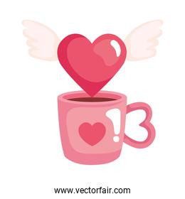 heart with wings and cup coffee