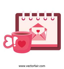 envelope mail in calendar with cup coffee