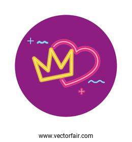 cute heart love neon light isolated icon