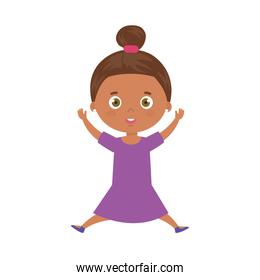 cute little girl afro isolated icon