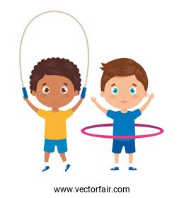 cute little boys with jump rope and hula hula
