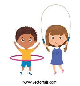 cute little children with jump rope and hula hula