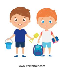cute little boys with school bag and toys