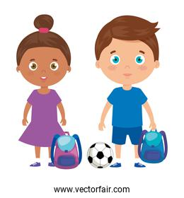 cute little children with school bag and toys