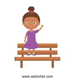 cute little girl afro in wooden chair isolated icon