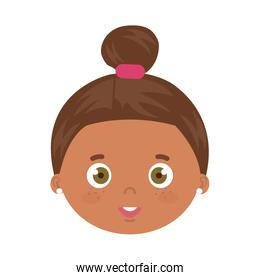 head of cute little girl afro avatar character