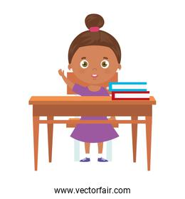 little girl afro with wooden desk
