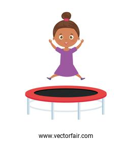 cute little girl afro in trampoline jump game