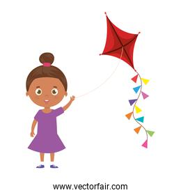 cute little girl afro with kite isolated icon