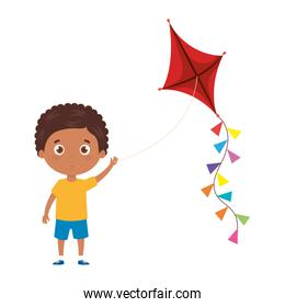 cute little boy afro with kite isolated icon