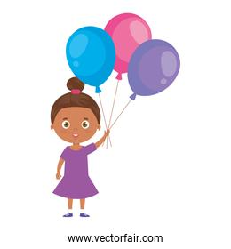 cute little girl afro with balloons helium