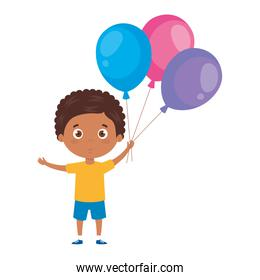 cute little boy afro with balloons helium