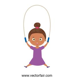 cute little girl afro with jump rope