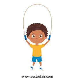 cute little boy afro with jump rope