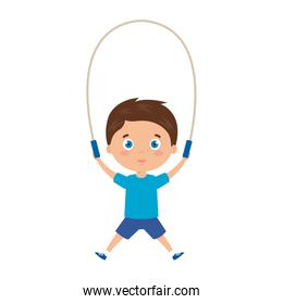 cute little boy with jump rope