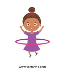 cute little girl afro playing hula hula isolated icon