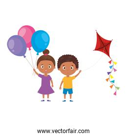 cute little children afro with kite and balloons helium