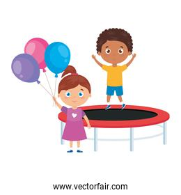 cute little children with trampoline jump and balloons helium