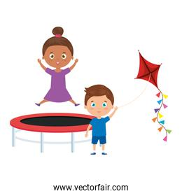 cute little children with trampoline jump and kite