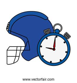 american football helmet with chronometer