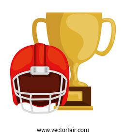 cup trophy and american football helmet isolated design
