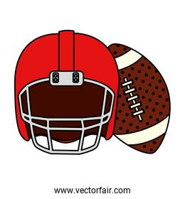 ball and american football helmet isolated icon