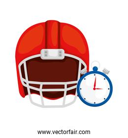 chronometer with american football helmet isolated icon