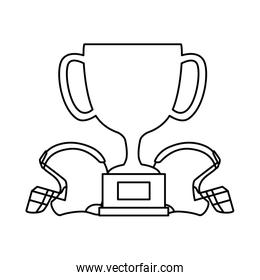 cup trophy and american football helmets isolated icon