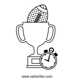 cup trophy with ball american football and chronometer over white