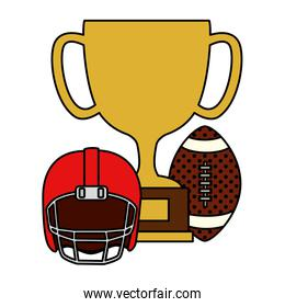 cup trophy with ball and helmet american football