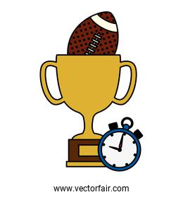 cup trophy with ball american football and chronometer