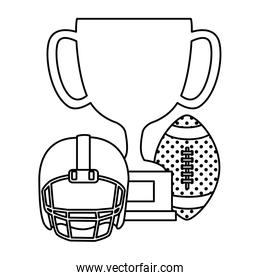 isolated cup trophy with ball and helmet american football