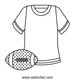 shirt and ball american football isolated icon