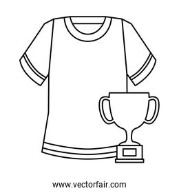 cup trophy and american football shirt