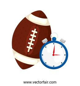 chronometer with ball american football isolated icon