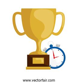 cup trophy award with chronometer