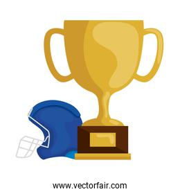 cup trophy and american football helmet isolated icon