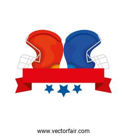 american football helmets with ribbon and stars