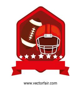 emblem with helmet and ball american football isolated icon