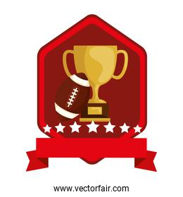 emblem with cup trophy and ball american football