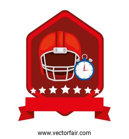 emblem with american football helmet and chronometer