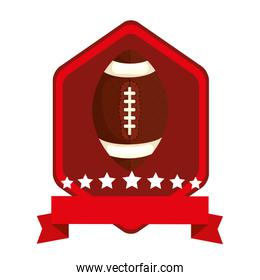 emblem with ball american football isolated icon