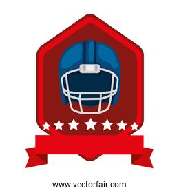 emblem with american football helmet isolated icon
