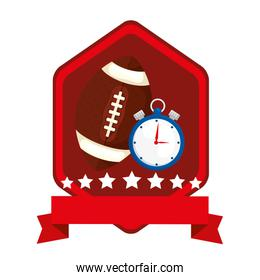 emblem with chronometer and ball american football