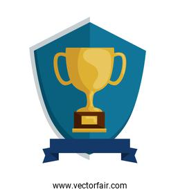 cup trophy award in shield icon