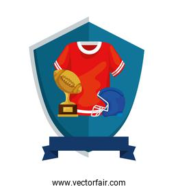 american football shirt with trophy and helmet in shield isolated icon