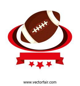 ball american football with ribbon and stars