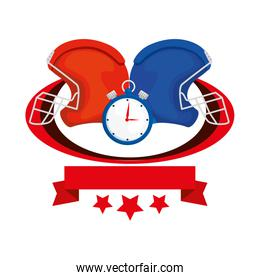 american football helmets and chronometer with ribbon and stars