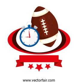 ball american football and chronometer with ribbon and stars
