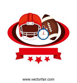 helmet and ball american football with ribbon and stars